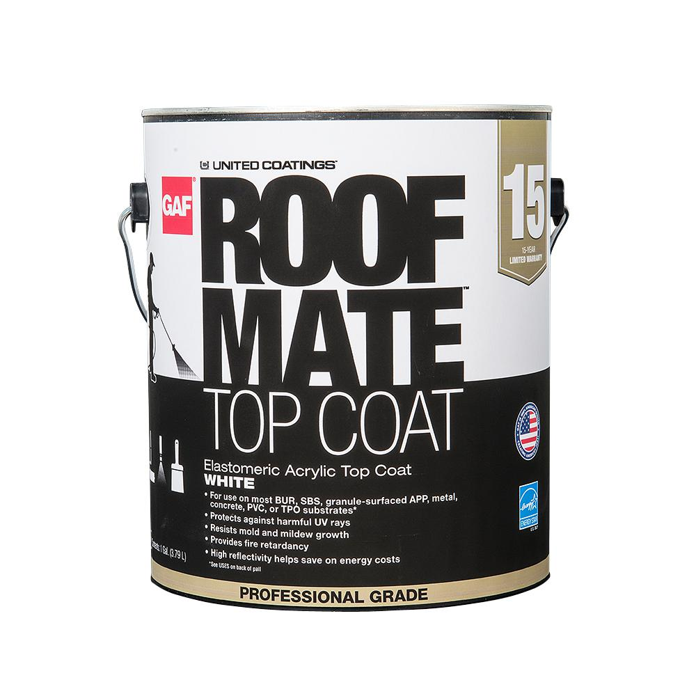 Gaf 1 Gal White Roof Mate Top Coat Reflective Roof