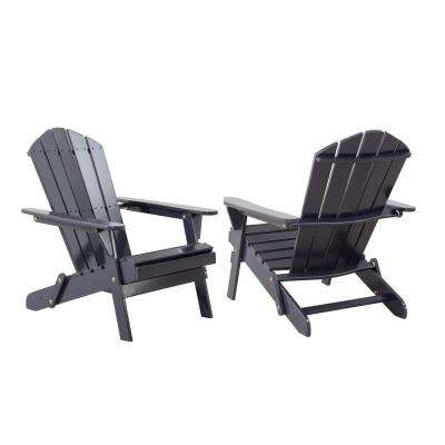 Classic Graphite Gray Folding Wooden Adirondack Chair (2-Pack)