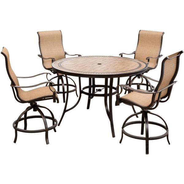 Monaco 5-Piece Aluminum Outdoor High Dining Set with Round Tile-top Table and Contoured Sling Swivel Chairs