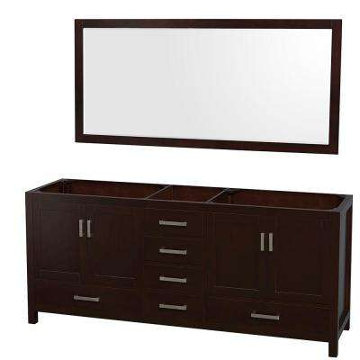 Sheffield 80 in. Double Vanity Cabinet with 70 in. Mirror in Espresso