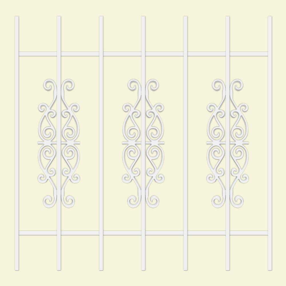 Unique Home Designs Victorian Scrolls 36 in. x 36 in. White 7-Bar Window Guard-DISCONTINUED