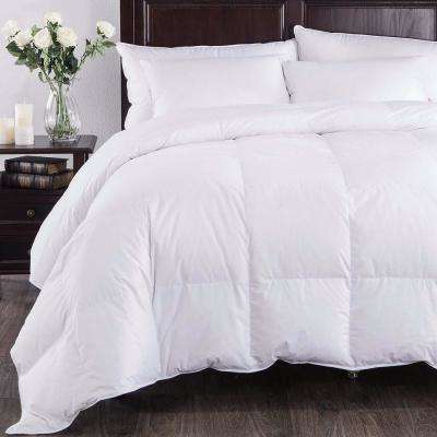 All Season Baffle Box European Down Comforter King in White