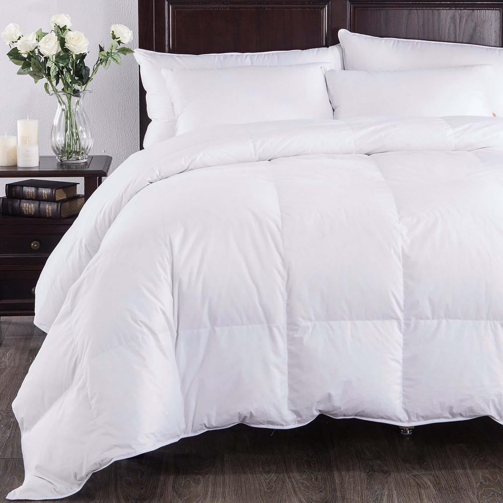 All Season Baffle Box European Down Comforter King in White