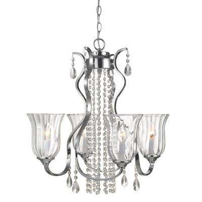 4-Light Chrome and Crystal Chandelier