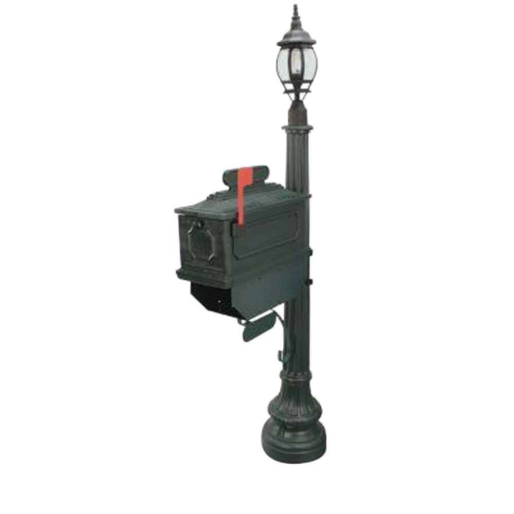 Postal Products Unlimited 1812 Beaumont 72 in. Plastic Green Mailbox with Lantern Post