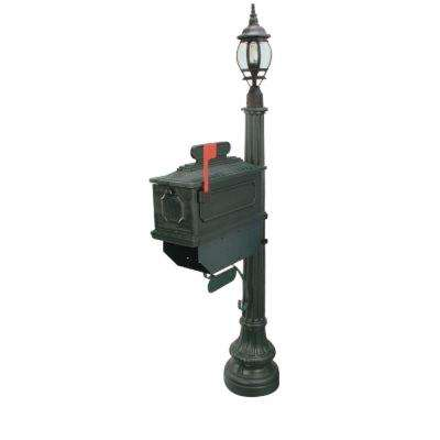 1812 Beaumont 72 in. Plastic Green Mailbox with Lantern Post