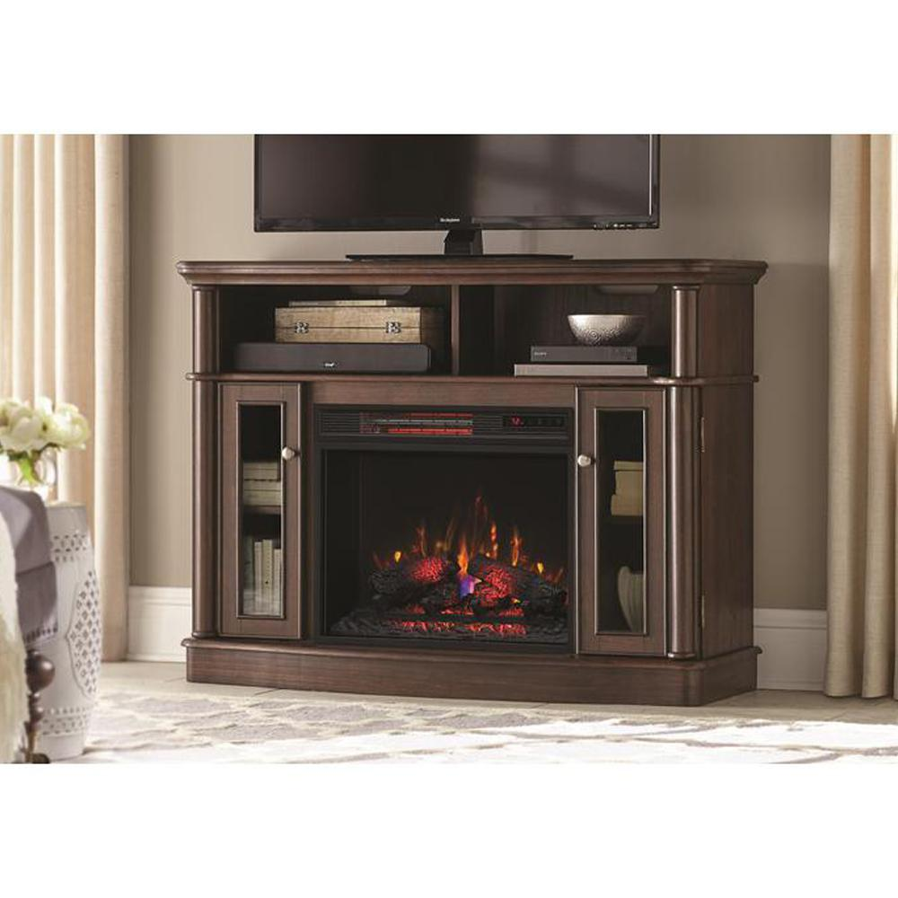 Tolleson 48 in. TV Stand Infrared Bow Front Electric Fireplace in