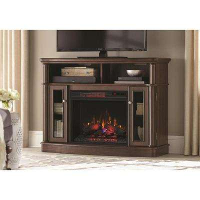 Tolleson 48 in. TV Stand Infrared Bow Front Electric Fireplace in Simply Brown