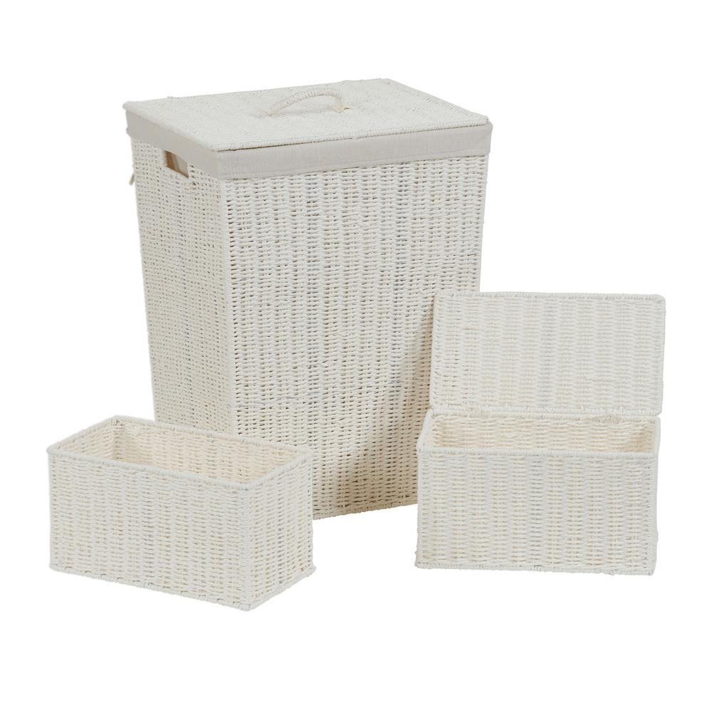 White Paper Rope Wicker Hamper And Basket Set (3 Piece)