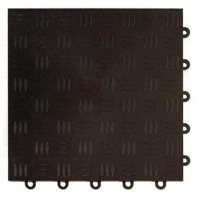 Diamond Top 1 ft. x 1 ft. x 1/2 in. Black Polypropylene Interlocking Garage Floor Tile (Case of 24)