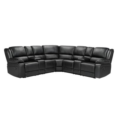 Mannual Motion Sofa 7 Piece Black Faux Leather Symmetrical Sectionals with Reclining