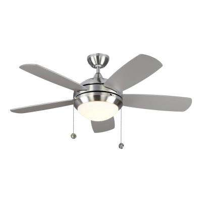 Discus Classic 44 in. Integrated LED Brushed Steel Ceiling Fan with 3000K Light Kit