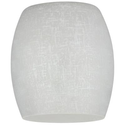 5-5/16 in. Hand-Blown White Linen Barrel Shade with 2-1/4 in. Fitter and 4-15/16 in. Width