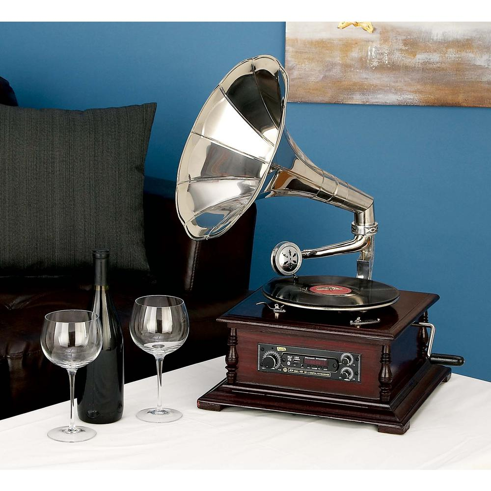15 in. x 26 in. Vintage Wood and Metal Gramophone in Silver-53921 ...
