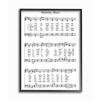 """11 in. x 14 in. """"Amazing Grace Vintage Sheet Music"""" by Lettered and Lined Wood Framed Wall Art"""