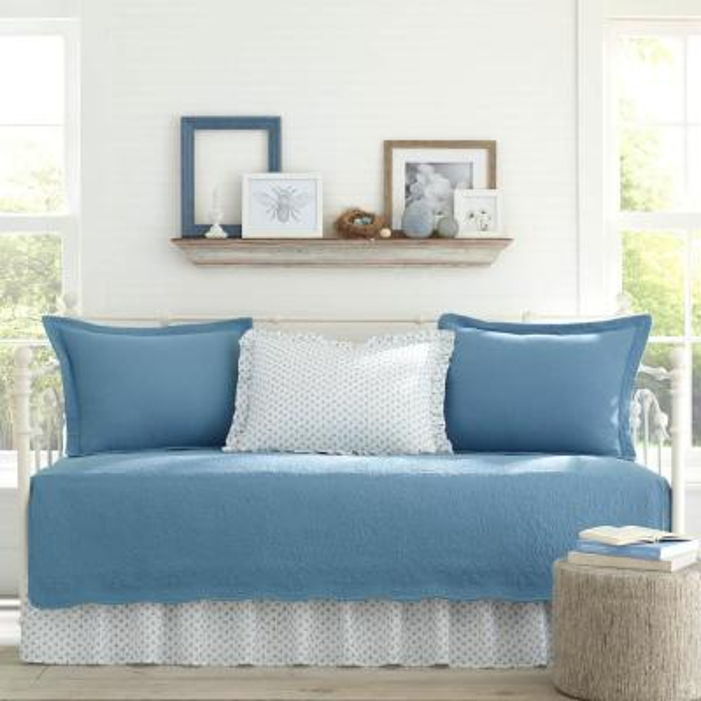 Trellis Blue 5-Piece Cotton Daybed Set