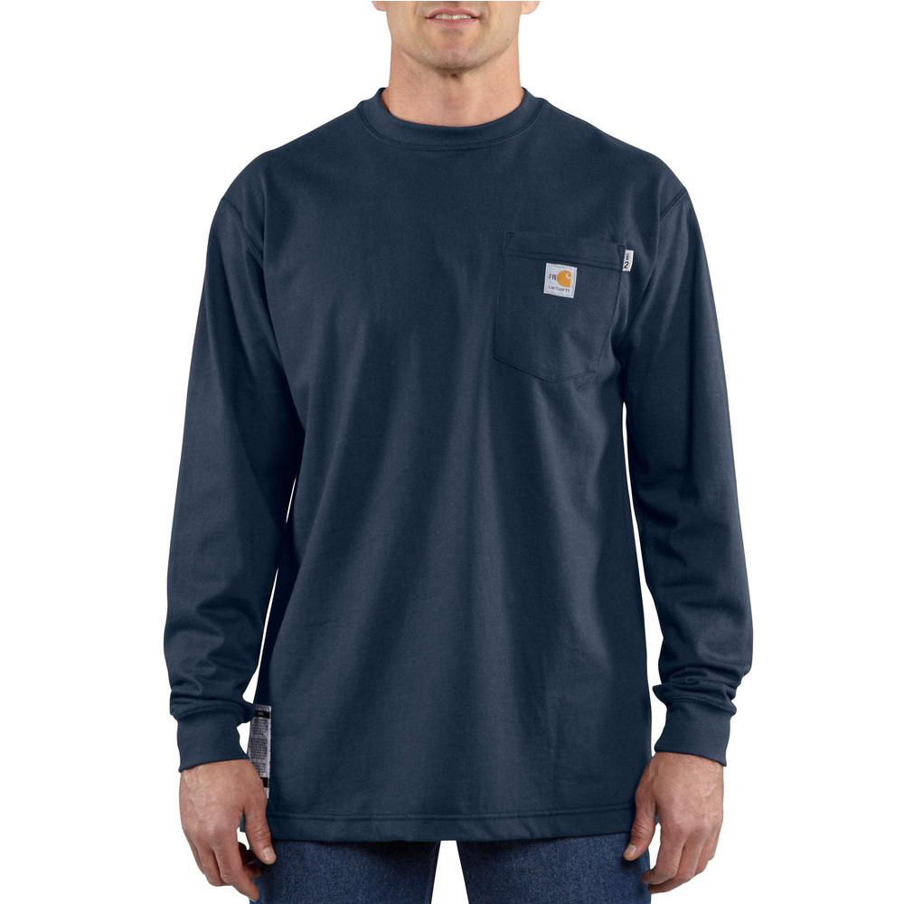cc68ecf6c8fc Carhartt Men's Regular Large Dark Navy FR Force Cotton Long Sleeve T ...