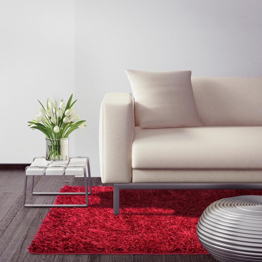 City Sheen Red 5 ft. x 5 ft. Square Area Rug
