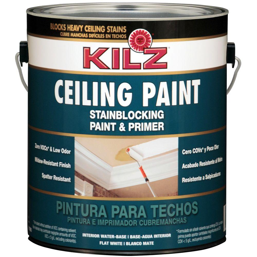 kilz 1 gal white flat interior ceiling paint and primer stain