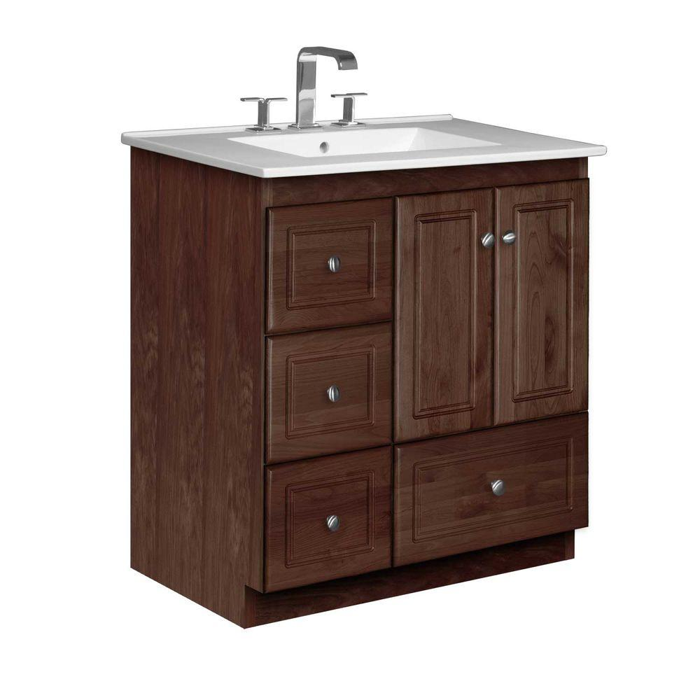 Simplicity by Strasser Ultraline 31 in. W x 22 in. D x 35 in. H Vanity with Left Drawers in Dark Alder with Vanity Top in White