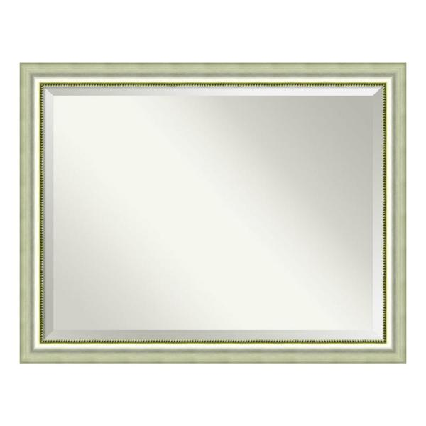 Vegas Curved Silver Wood 45 in. W x 35 in. H Casual Framed Mirror