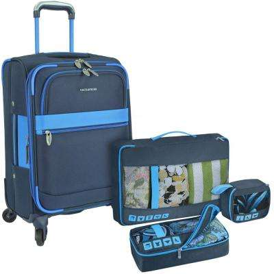 Alamosa Spinner Luggage with Navy Packing Cube Set (4-Piece)