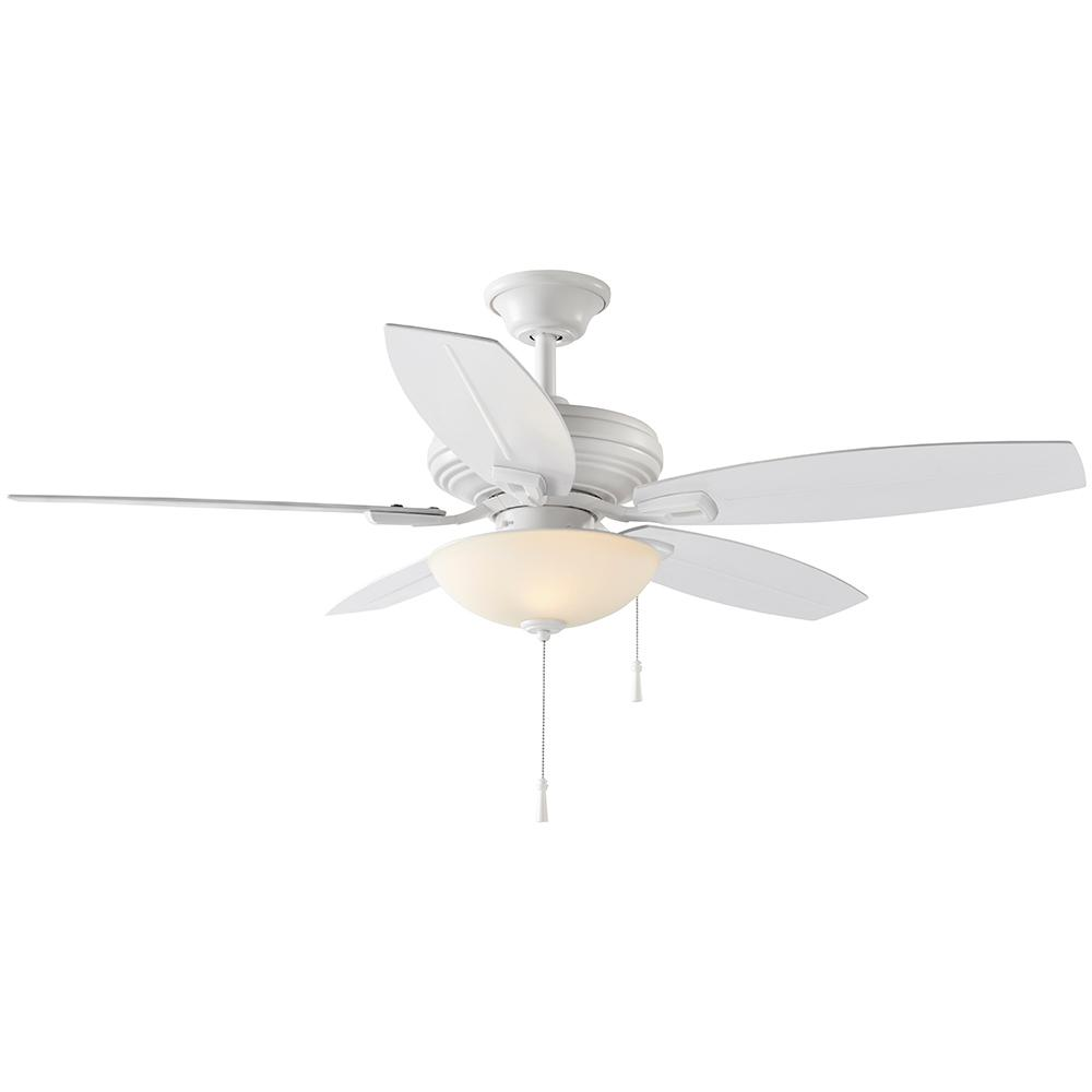 Hampton Bay North Pond 52 in. LED Outdoor Matte White Ceiling Fan with Light