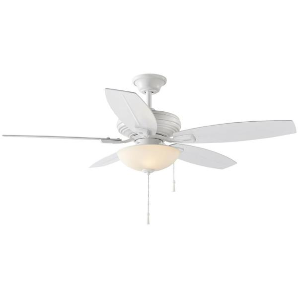 North Pond 52 in. LED Outdoor Matte White Ceiling Fan with Light