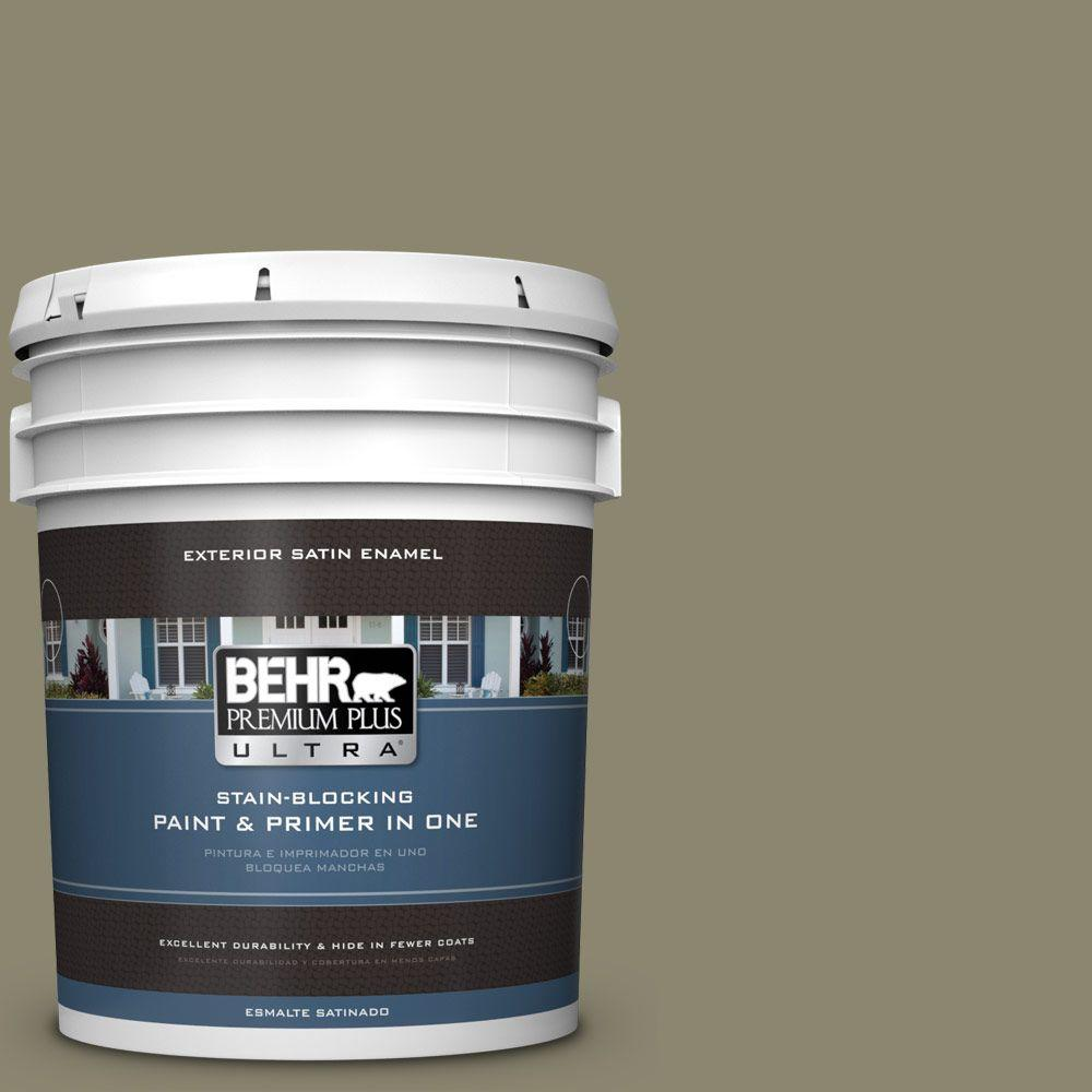 BEHR Premium Plus Ultra 5-gal. #PPU8-21 Mossy Bank Satin Enamel Exterior Paint
