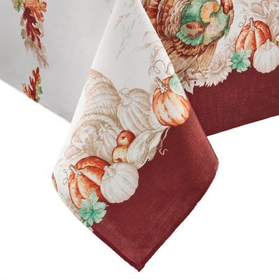 60 in. W x 120 in. L Multi Color Holiday Turkey Bordered Fall Tablecloth