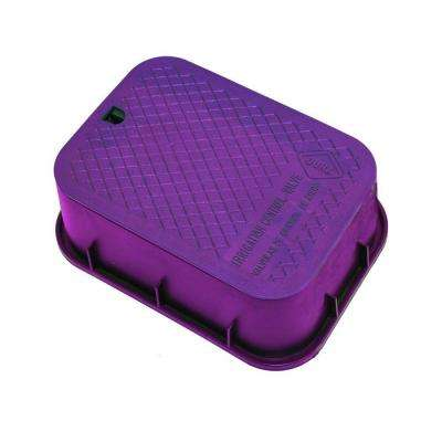 12 in. x 17 in. x 6 in. Deep Rectangular Valve Box in Purple Body Purple Lid