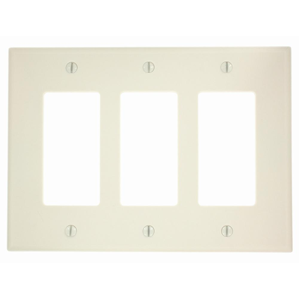 Leviton 3-Gang Decora Midway Rocker Switch Wall Plate, Light Almond