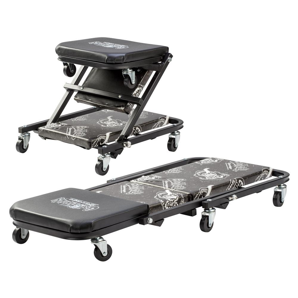 Gas Monkey Z Creeper Mechanic Seat - 6-Rolling Casters with 300 lbs. Capacity for Automotive Car Garage