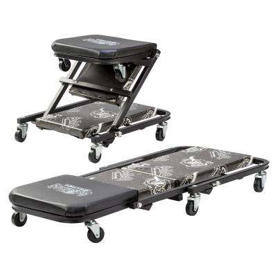 Z Creeper Mechanic Seat - 6-Rolling Casters with 300 lbs. Capacity for Automotive Car Garage