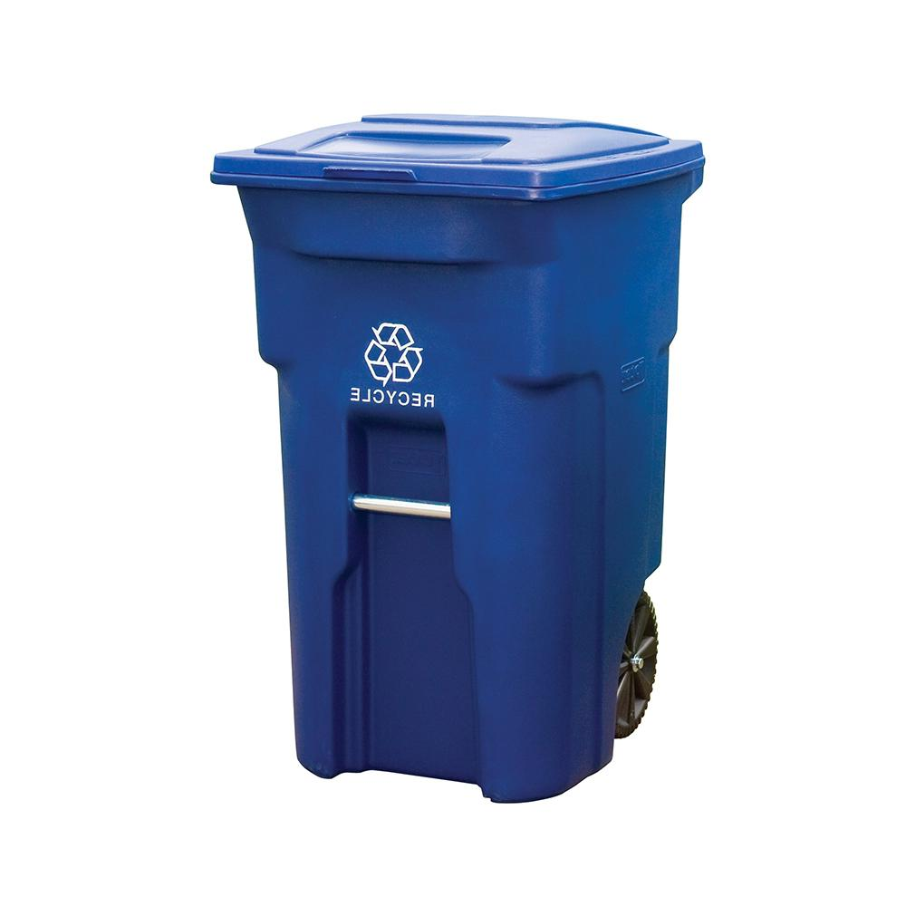 Blue Rollout Recycling Container With Attached Lid