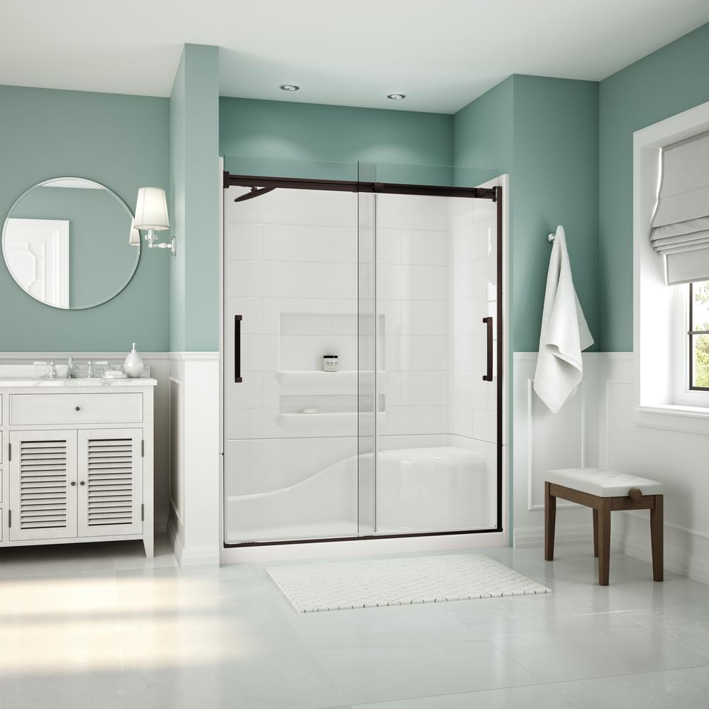 Coronado Acrylx 60 in. x 30 in. Single Threshold Left Drain Shower Kit in White with Bench with Door in Dark Bronze