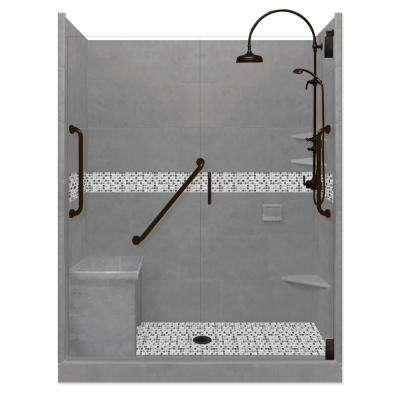 Del Mar Freedom Luxe Hinged 30 in. x 60 in. x 80 in. Center Drain Alcove Shower Kit in Wet Cement and BK Pipe Hardware