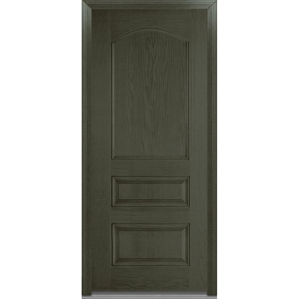 Mmi door 36 in x 80 in severe weather right hand outswing 3 panel archtop stained fiberglass 36 x 80 outswing exterior door