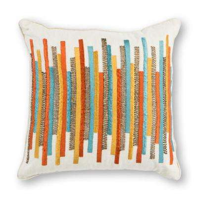 Teal/Gold Stripes 18 in. x 18 in. Decorative Pillow