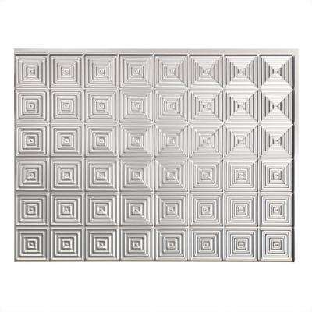 24 in. x 18 in. Miniquattro PVC Decorative Backsplash Panel in Brushed Aluminum