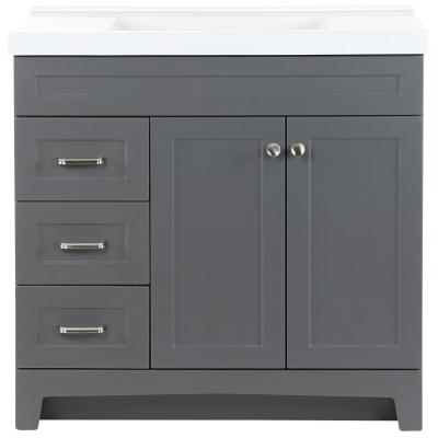 Thornbriar 37 in. W x 22 in. D Vanity in Cement with Cultured Marble Vanity Top in White with White Sink