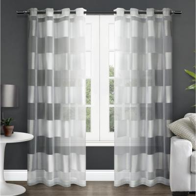 Navaro 54 in. W x 96 in. L Sheer Grommet Top Curtain Panel in Winter White (2 Panels)
