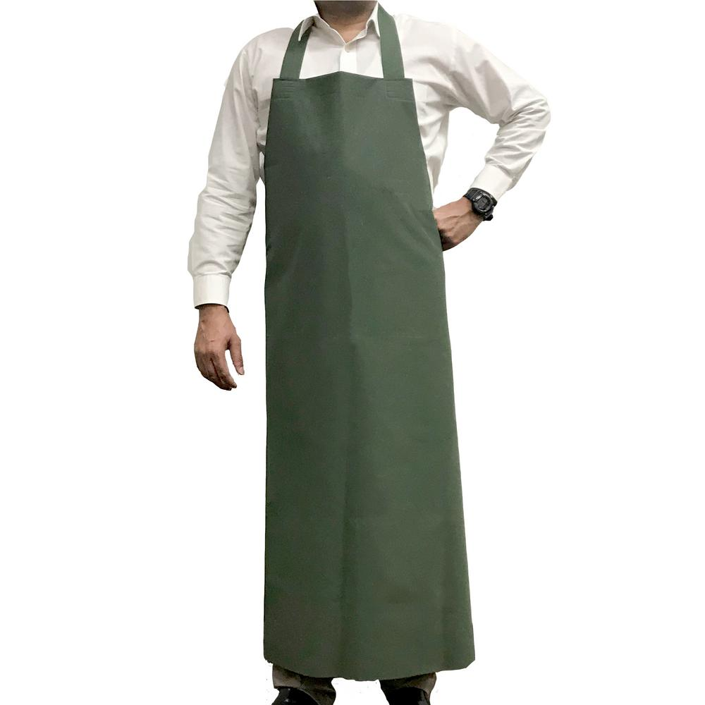 KLEEN CHEF Waterproof and Oilproof Vinyl Bib Apron, Large, Green
