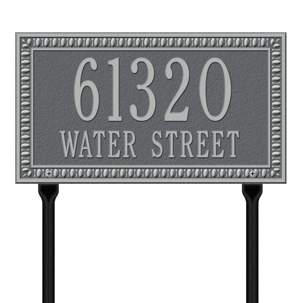 Egg and Dart Rectangular Pewter/Silver Standard Lawn Two Line Address Plaque