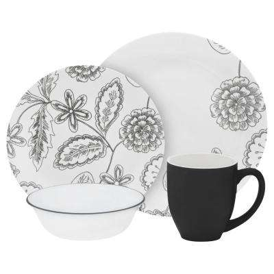 Vive 16-Piece Gray and Black Flowers Reminisce Dinnerware Set