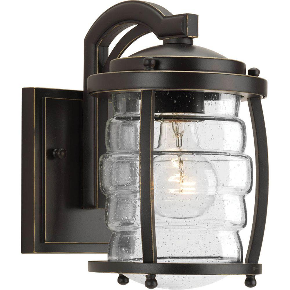 Progress Lighting Signal Bay Collection 1-Light Oil Rubbed Bronze 9.25 in. Outdoor Wall Lantern Sconce