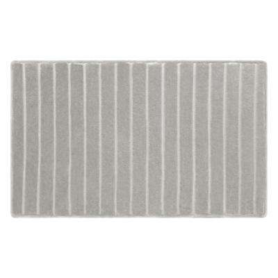 21 in. x 34 in. Velvet Charcoal-Infused Memory Foam Bath Mat in Light Grey