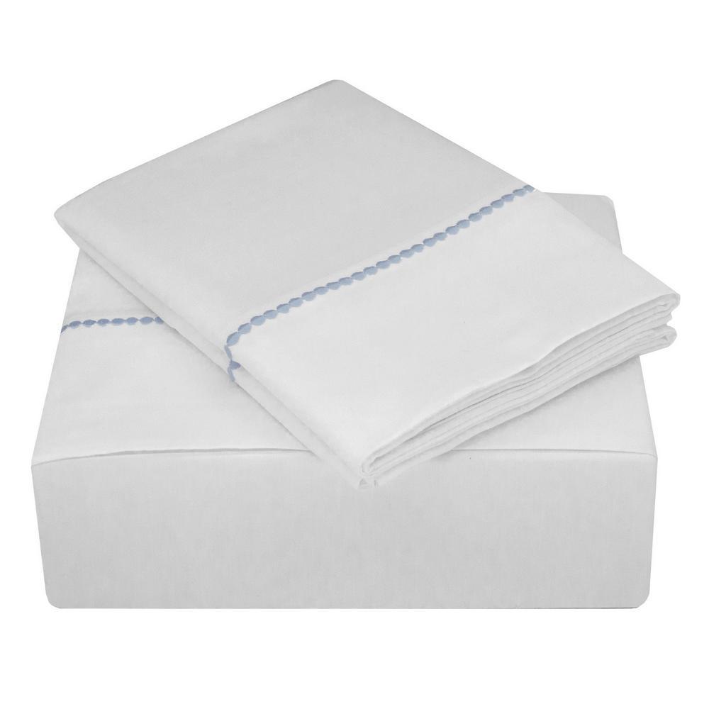 Highlights 400 Thread Count Cotton Dot Cuff White Light Blue Dot King Sheet Set