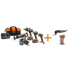 Ridgid 18-Volt GEN5X Cordless Lithium-Ion Combo Kit (7-Tool) with (2) 4.0Ah HYPER Lithium-Ion Batteries,... by RIDGID