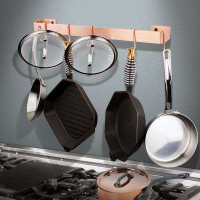 Handcrafted 36 in. Brushed Copper Wall Rack Utensil Bar with 6-Hooks